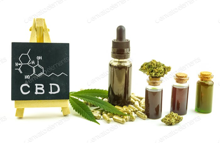 Full spectrum CBD oils capsules flower buds and chemical structure of cannabidiol