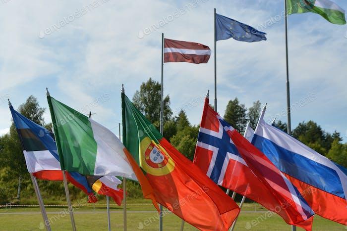 Banderas Europeas. unión europea, UNESCO, bandera de la Unión, bandera de Bulgaria, bandera de Bulgaria, bandera de la UNESCO