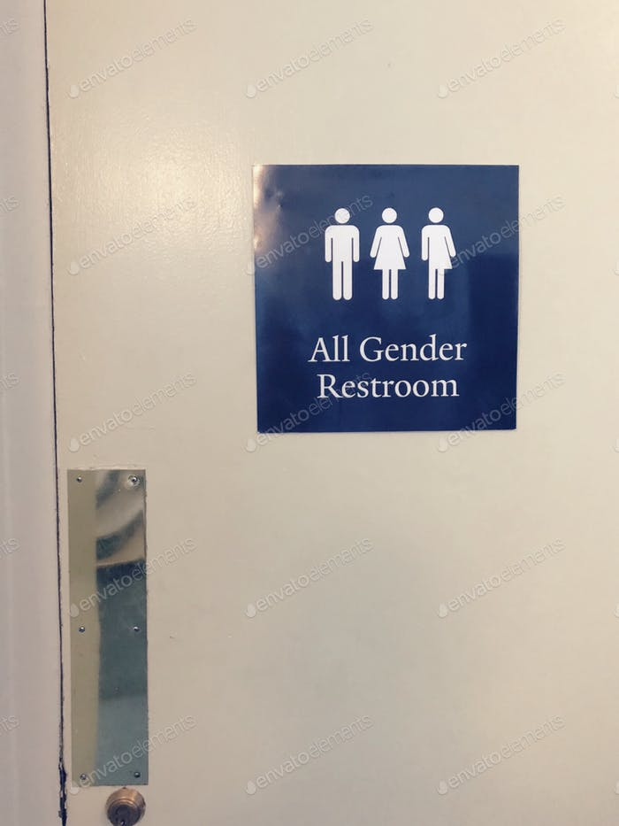 All gender restroom. Inclusion and diversity in communities.