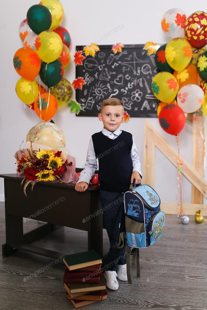 schoolboy, boy, school, flowers, first-grader, class, teacher, student, textbooks, holiday, Septembe