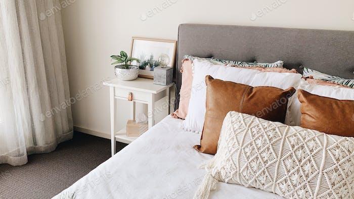 Bedroom styling, boho style, Scandi bed
