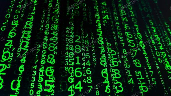 Números binarios en fondo de matriz de pantalla del ordenador