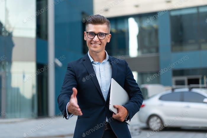 Business Businessman meet partner Handshaking Hello, nice to meet you