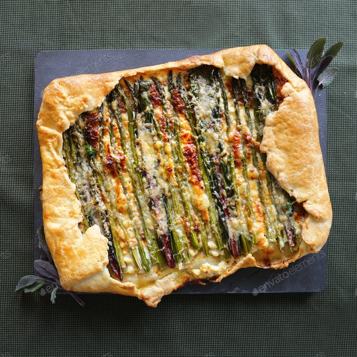 Asparagus and Gruyere galette