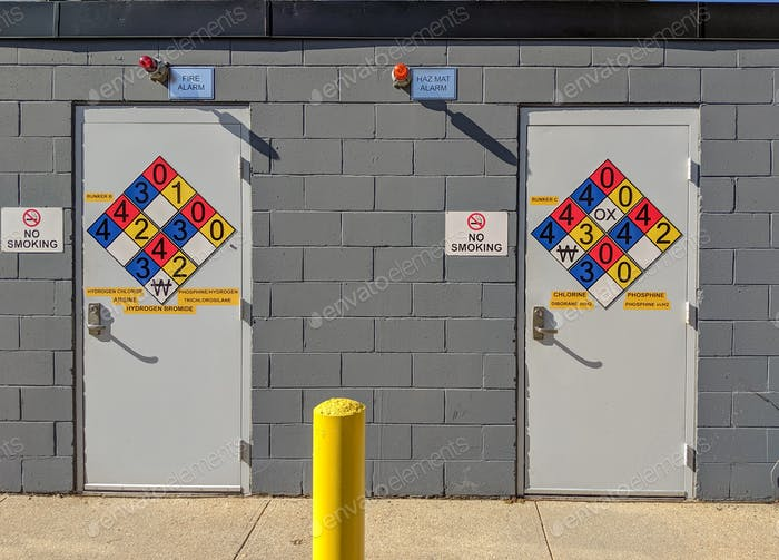 Industrial Storage Bunker for Hazardous Materials and Highly Flammable Chemicals with Safety Warning