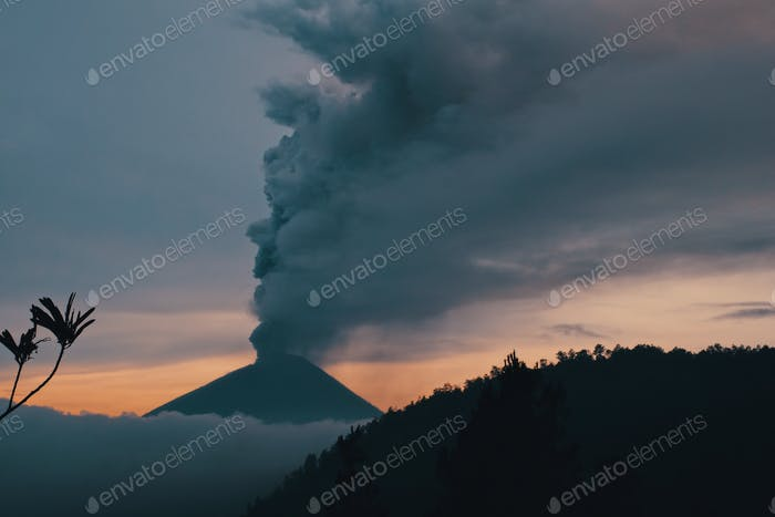 Agung volcano erupting