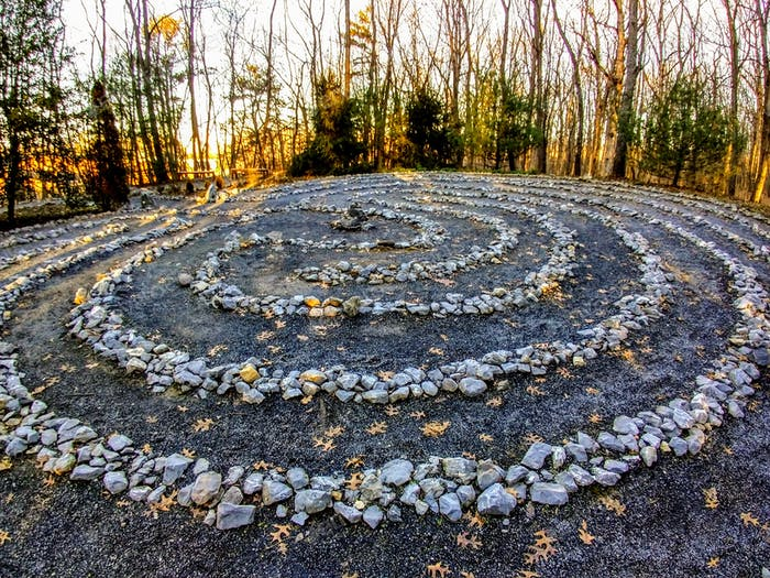 A stone labyrinth in the woods for mediation or spiritual activities