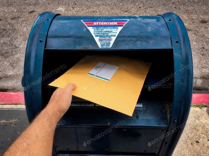 Mailing a letter to my son!