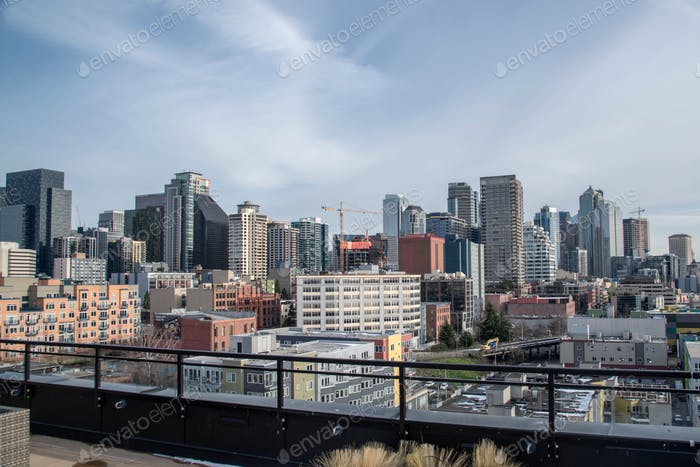Downtown Seattle skyline from a condo building rooftop