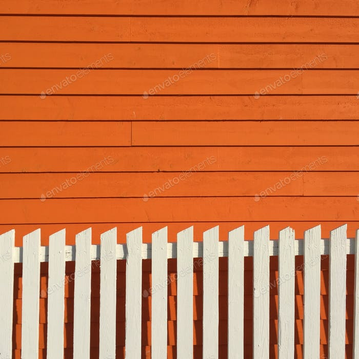 Picket on Clapboard #orange #lines #house