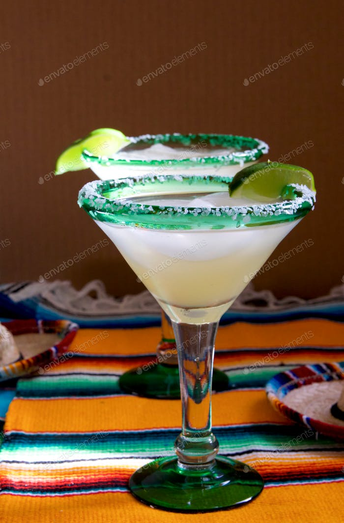 Margaritas on bright and colorful placemats
