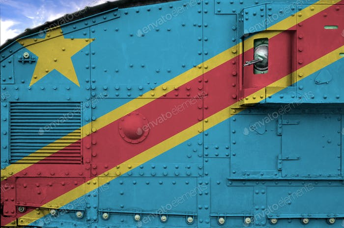 Democratic Republic of the Congo flag depicted on side part of military armored tank close up