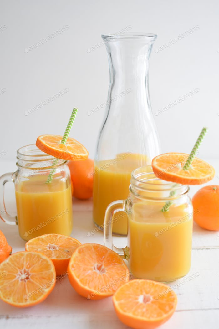 Carafe and Glasses of Fresh Squeezed Orange Juice