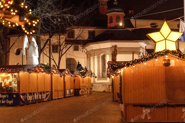 Christmas market in Lucerne Switzerland at night time
