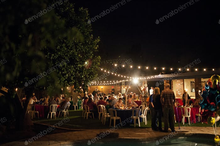 Outdoor party with bistro lighting