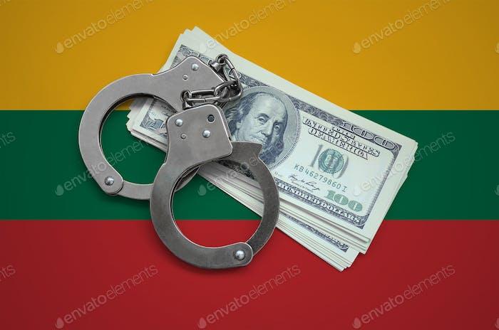 Litauische Flagge mit Handschellen und einem Bündel von Dollar