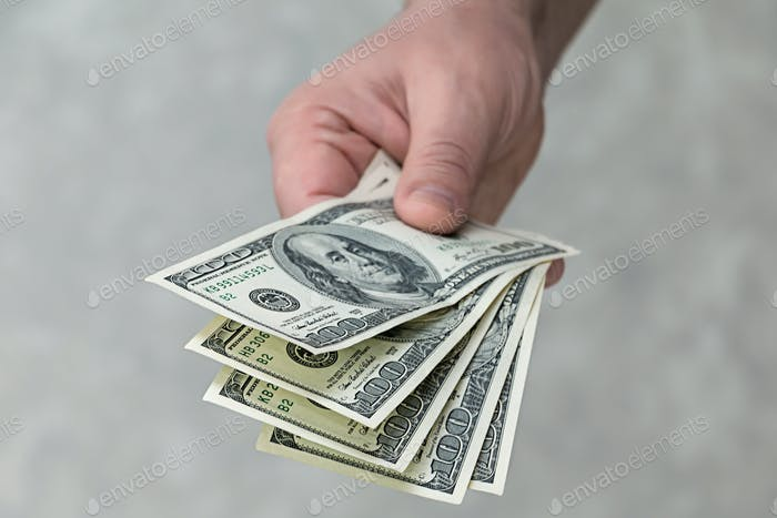 A man with money in his hands
