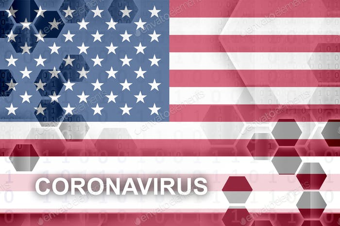 United States of America flag and futuristic digital abstract composition with Coronavirus