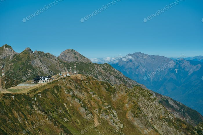 natural landscape with a ski resort in the Caucasus mountains in summer