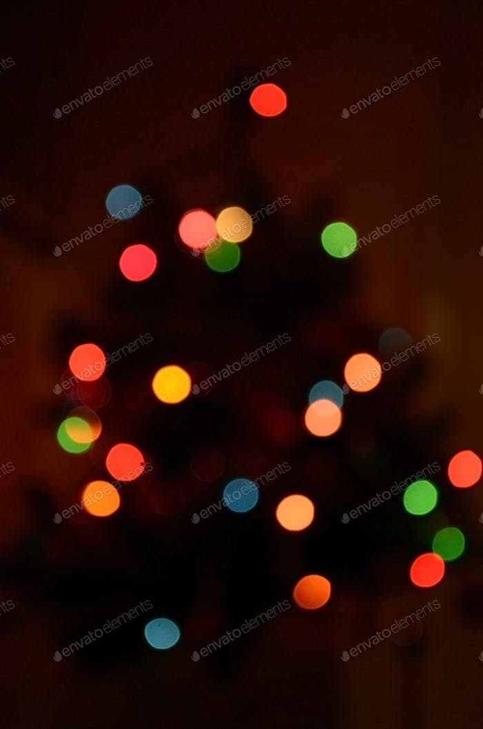 Christmas tree, right out of focus.