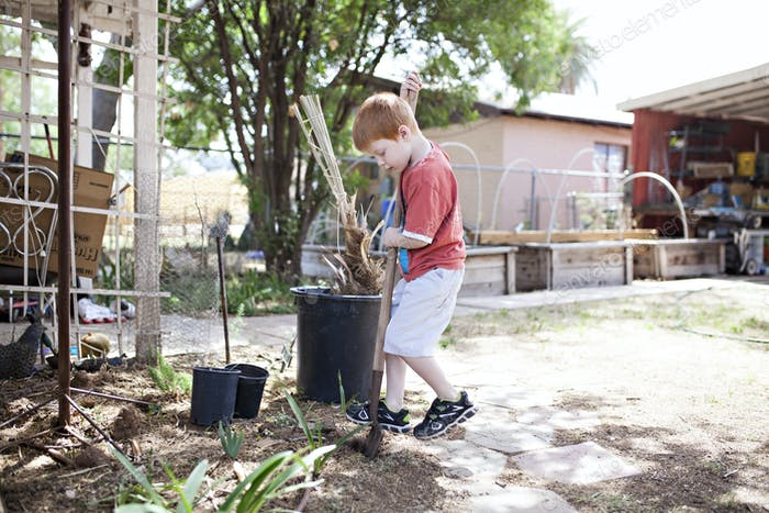 Boy digging with a shovel.