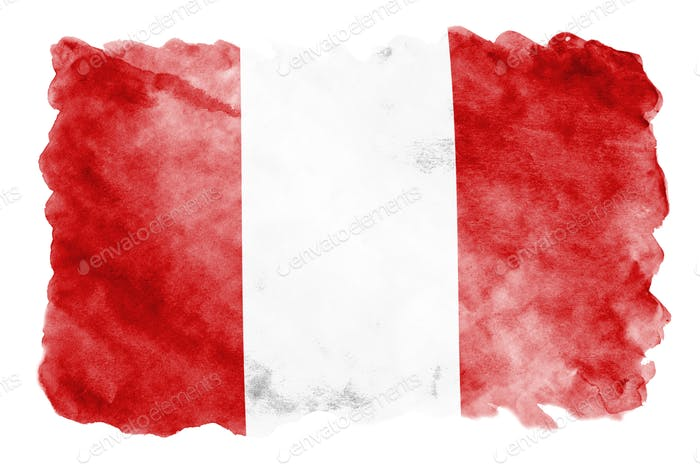 Peru flag  is depicted in liquid watercolor style isolated on white background