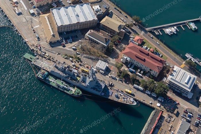 Aerial view of garden island naval base in Sydney Harbour in Australia, garden island