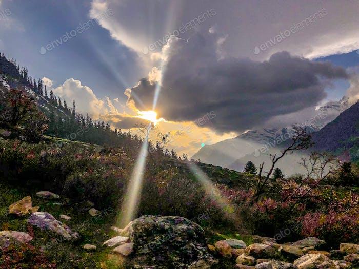 Beautiful sunrise view Himachal Pradesh India