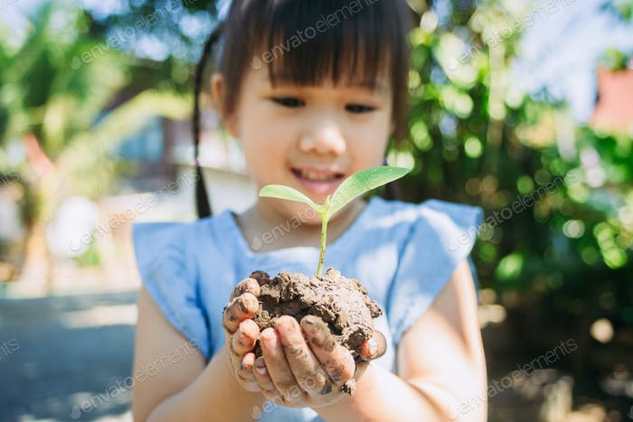girl panting a tree for save the earth