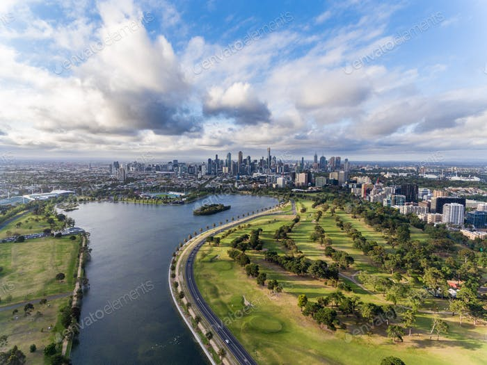 Aerial view of Melbourne.