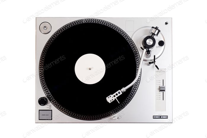 Vinyl player with a vinyl disc on a white background