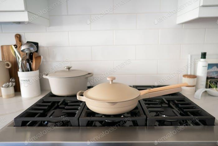 Pots on a Kitchen Stovetop