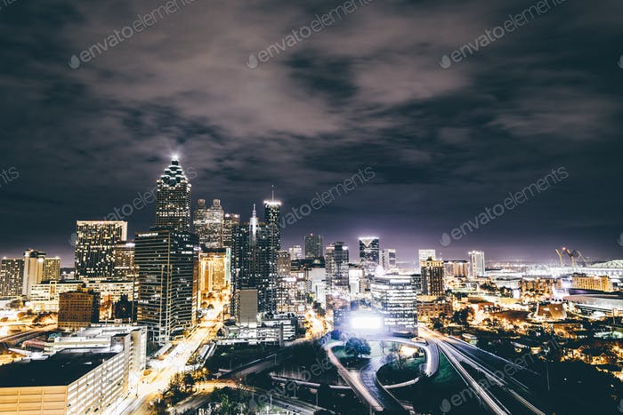 long exposure of downtown Atlanta