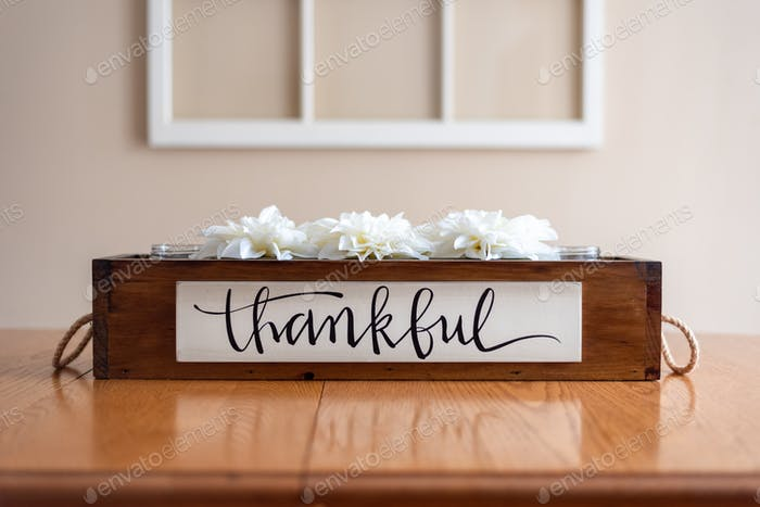 Tabletop centerpiece with the word Thankful