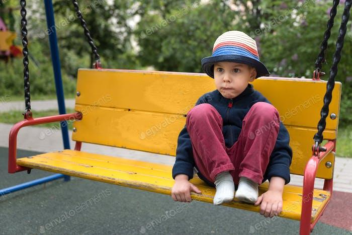 Pensive toddler boy
