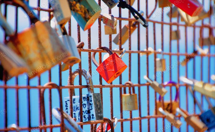 A heart-engraved lock / symbol of luck