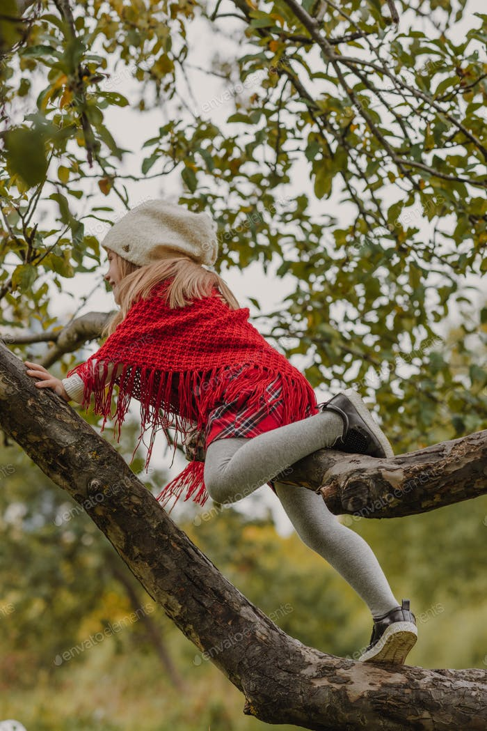 A little girl in a knitted hat sits on a tree branch