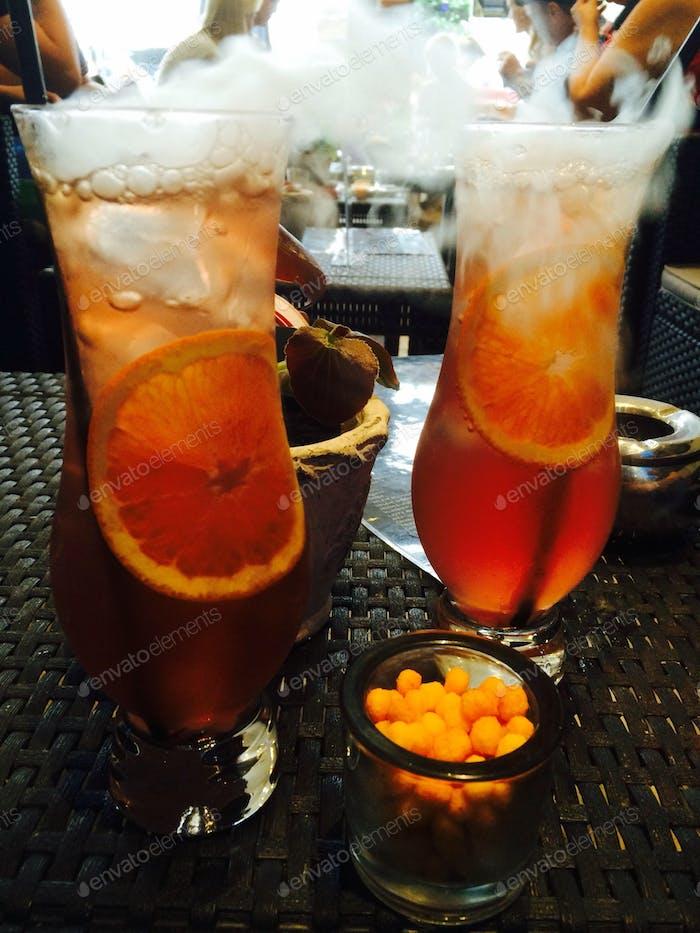 Smokey iced orange cocktails