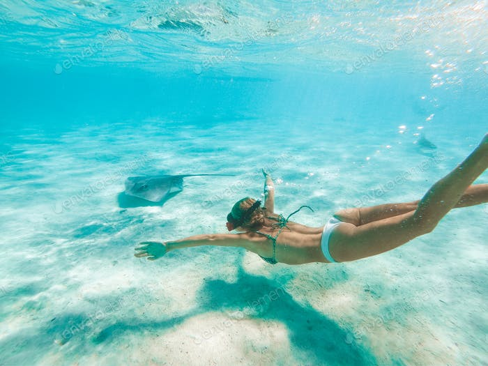 Woman snorkeling with the sting ray and shark