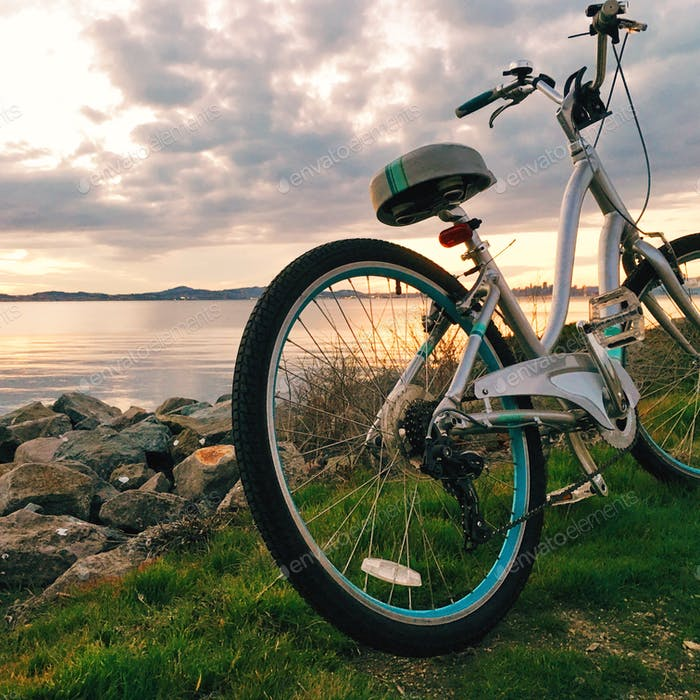 Bike riding by the shoreline