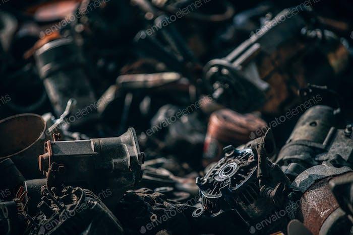 Focused shot of an auto part scrapyard