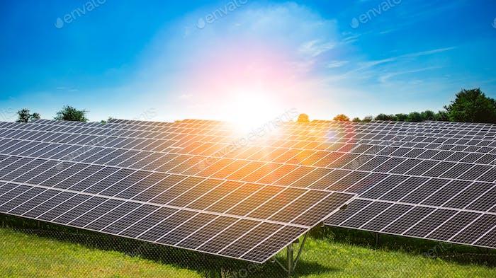 Burst of sunlight shining on solar panels, renewable energy, sustainable energy