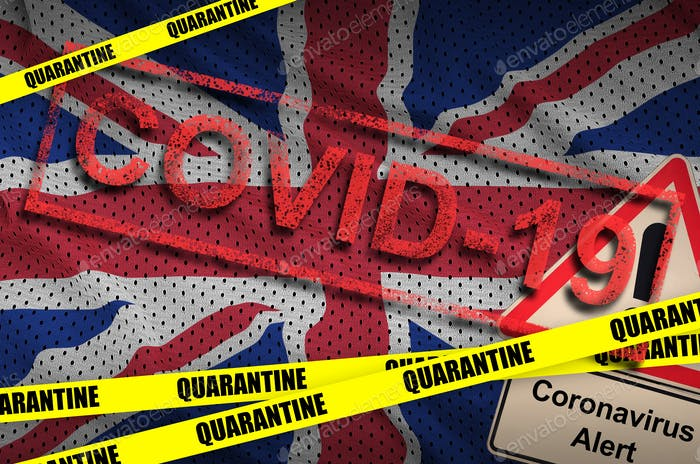 Great britain flag and Covid-19 quarantine yellow tape with red stamp