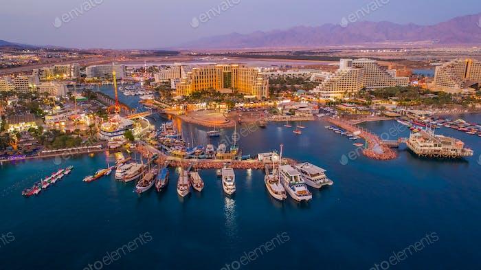 Eilat, Israel, aerial evening view