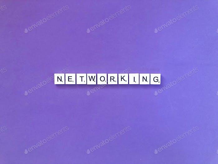 Networking. Network. Network marketing. Scrabble. Purple.