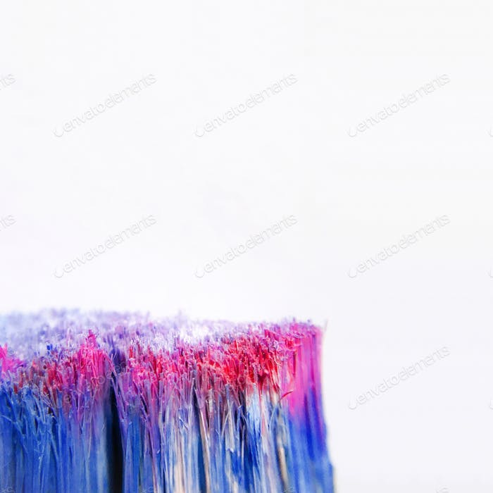 Macro shot of paintbrush bristles against a white background.