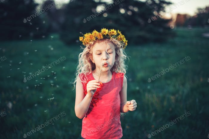 summer; child; blow; girl; childhood; authentic; lifestyle; dandelion; candid; flower; park;