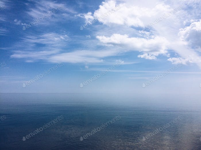 Infinite view of the sea and the sky. Tranquility scene