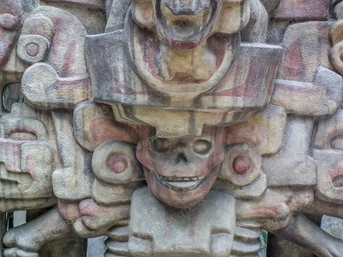 aztec sculpture of stone engraved Mexico culture