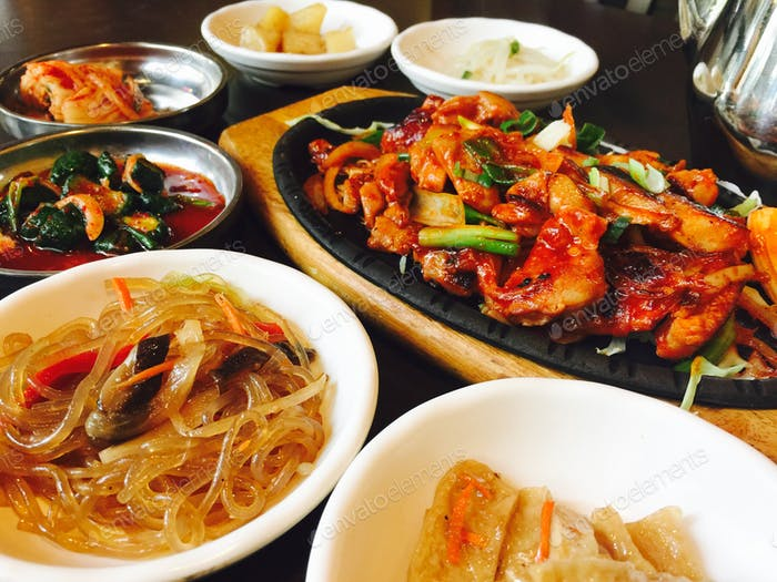 Korean food dishes cooking